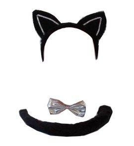 Katzenset Katze Karneval Fasching Ohren Fliege Schwanz untersch. Farbe