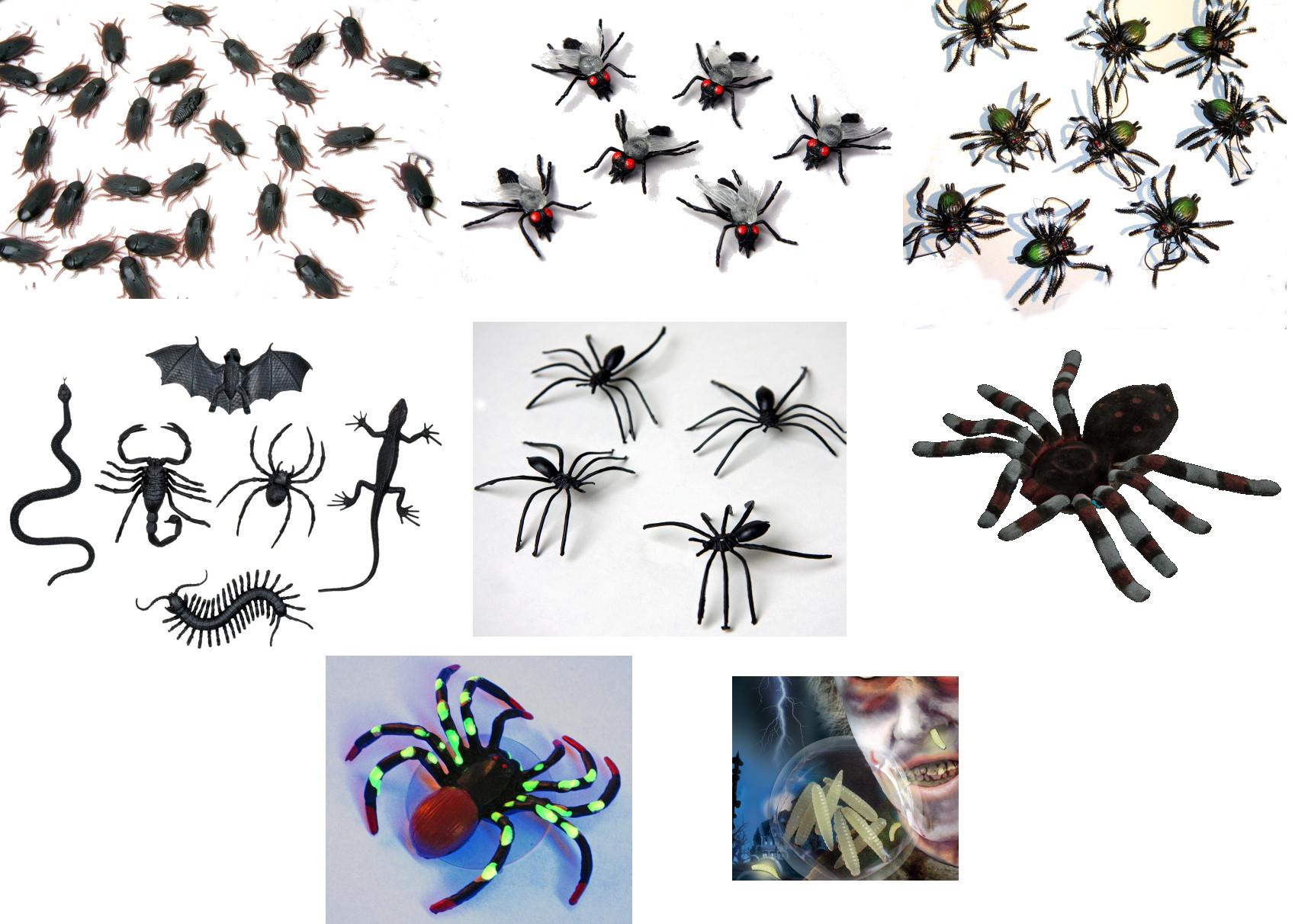tiere gruseltiere deko halloween party spinnen kakerlaken fliegen maden ebay. Black Bedroom Furniture Sets. Home Design Ideas