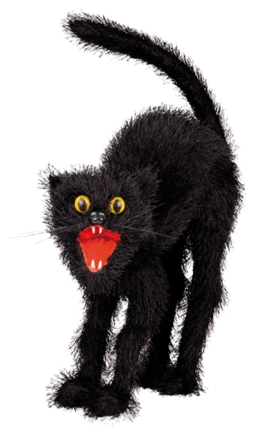 schwarze katze kater dekoration halloween aberglaube motto party 24 x 27 cm ebay. Black Bedroom Furniture Sets. Home Design Ideas