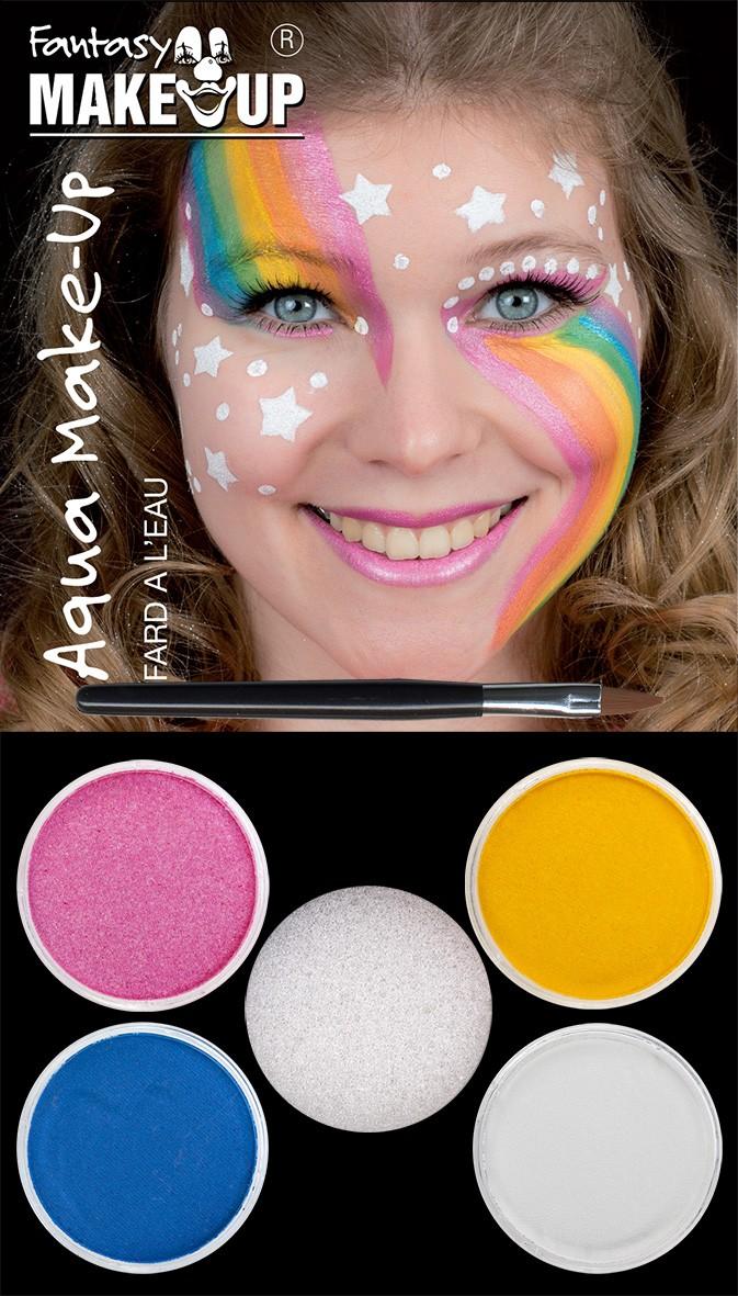 Aqua Make Up Set Einhorn Schminke Regenbogen Bunt Karneval