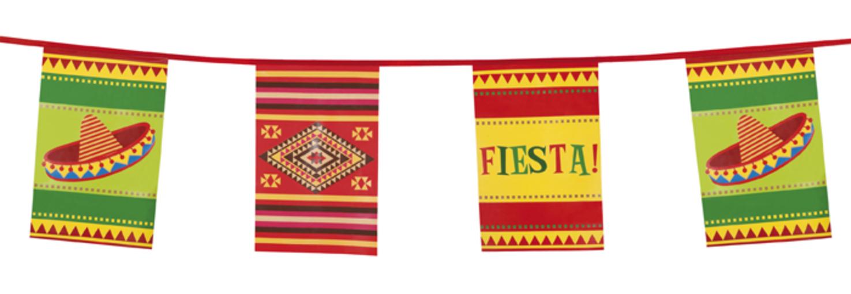 Fiesta flaggen wimpelkette 10 meter mexiko party for Mexikanische dekoration