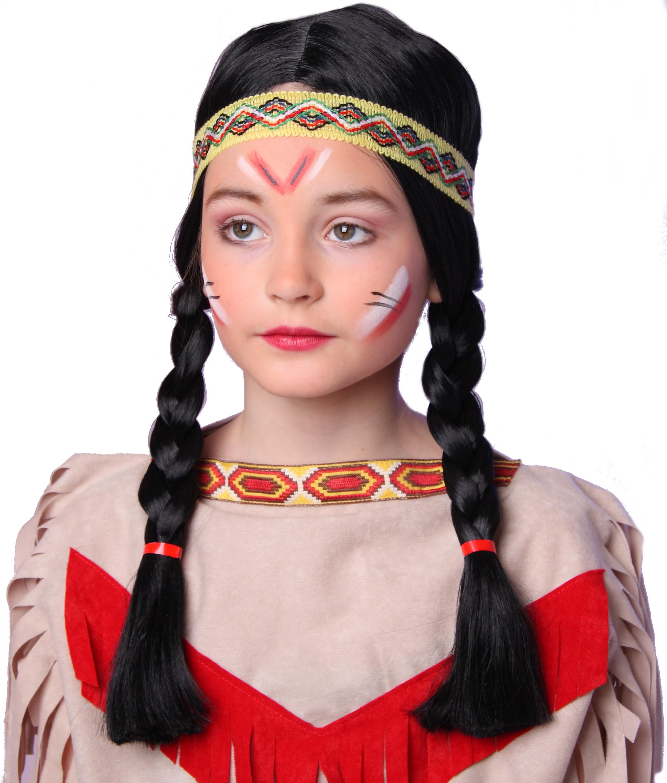 Indianer Indianerin Perucke Kinder Western Madchen Karneval Fasching