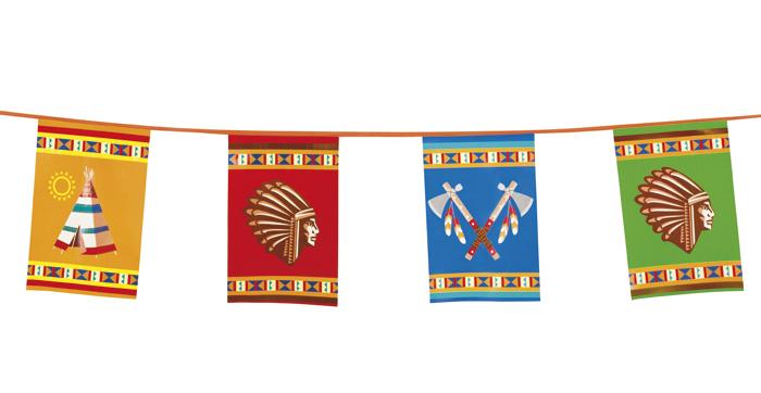 Wimpelkette indianer 10m flagge mottoparty deko dekoration for Dekoration 70iger jahre