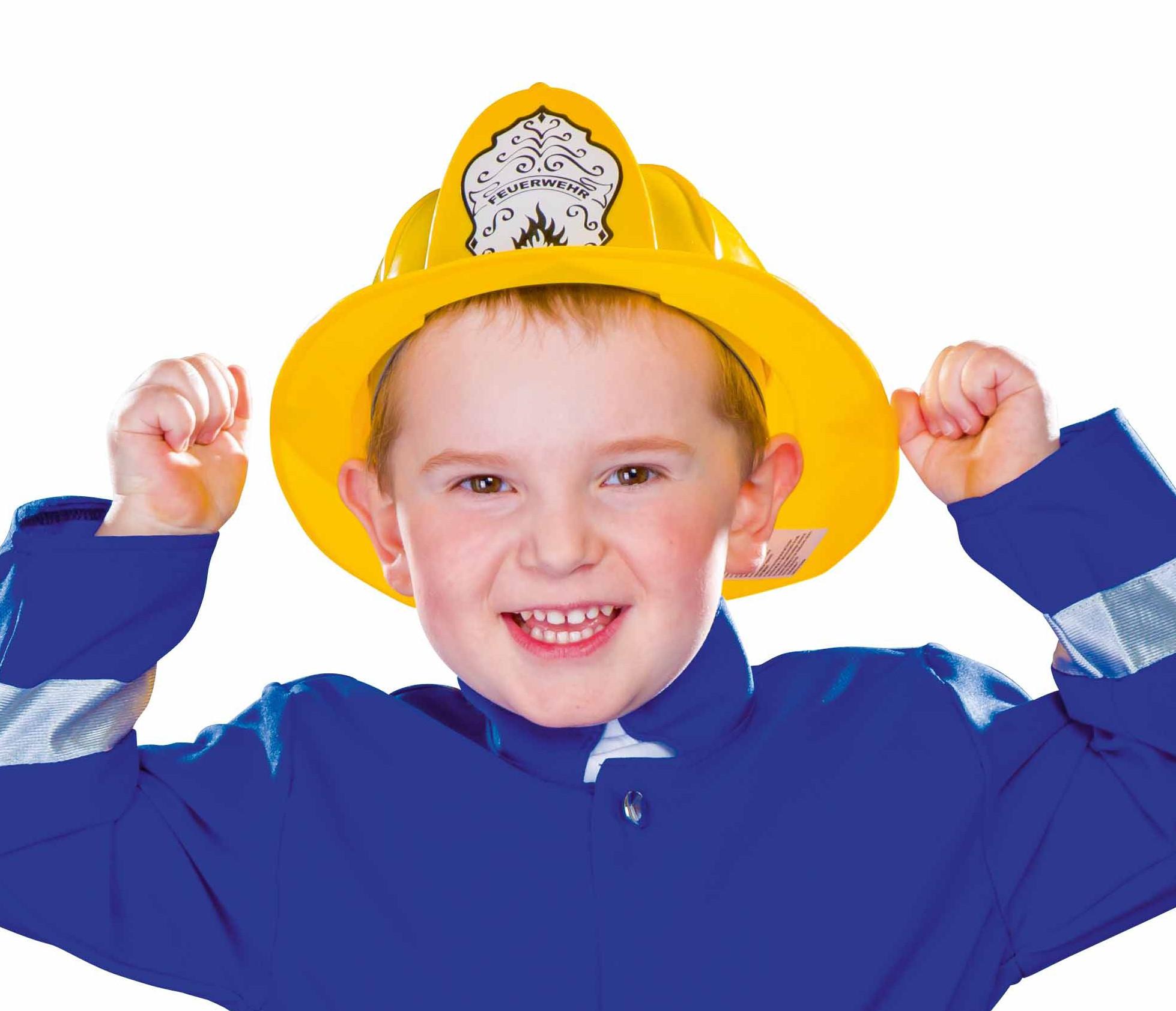 Gelber Feuerwehrhelm Kinder Feuerwehrmann Helm Hut Karneval Fasching
