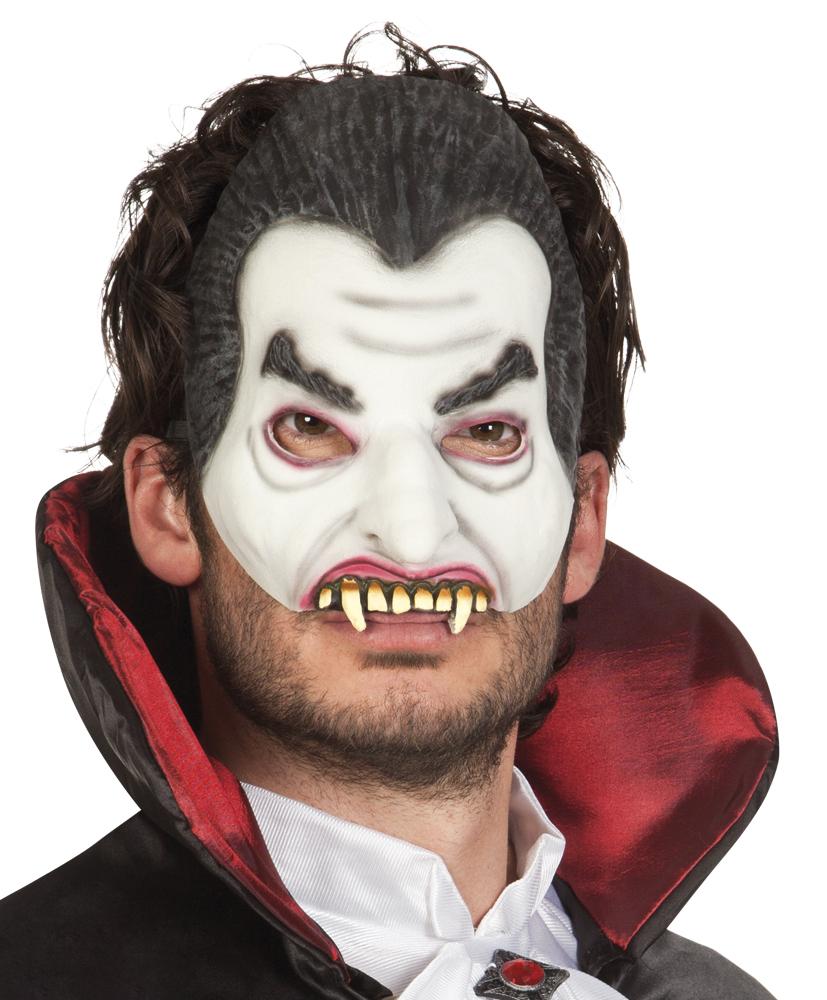 vampir maske halbmaske mit z hnen grusel halloween karneval fasching. Black Bedroom Furniture Sets. Home Design Ideas