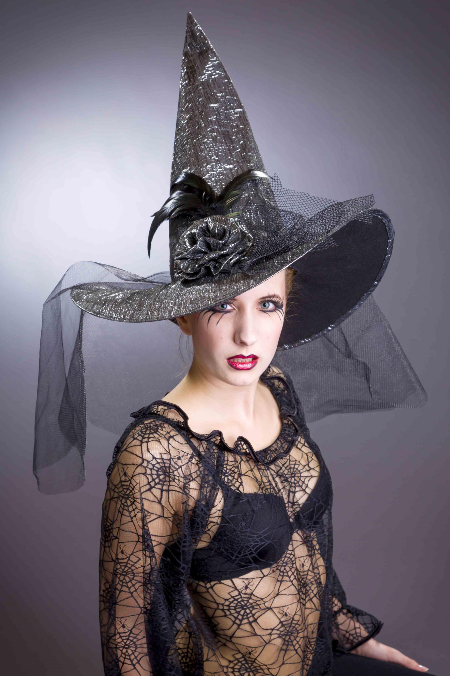 1e839e9999090 Hexenhut silber schwarz mit Schleier Größe 58 Hut Hexe Halloween