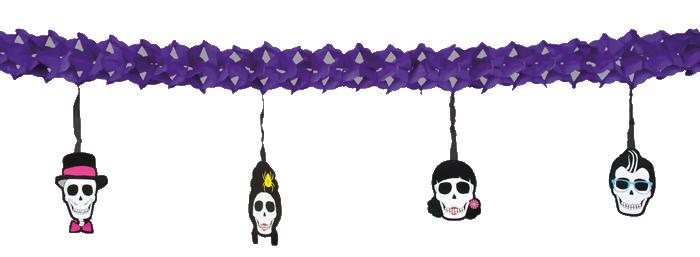 Girlande skull party 4 m deko halloween mottoparty dekoration for Dekoration 70iger jahre