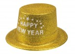 Happy New Year goldener Glitter Zylinder Silvester Party Hut