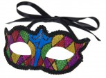 bunte Harlekin Augenmaske Maske Clown Fasching Party Deko