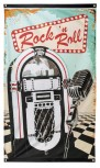 Rock´n Roll Fahne 150cm x 90cm Jukebox 60er Jahre Party