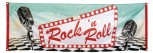 Rock´n Roll Banner 220 cm x 74 cm Miikrofon 60er Jahre Party