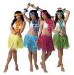 Hawaii-Set: Halskette, Haarband, Armband, Rock - Aloha Party Beachparty