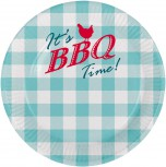 Teller BBQ  8 x Party Teller 23 cm Grillfest Party Dekoration Pappbecher
